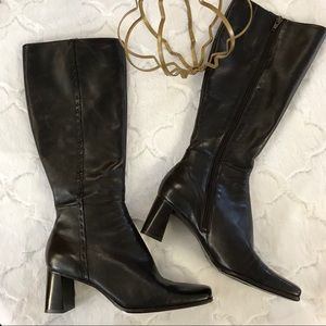 Nine West Chunky Heel Brown Boots